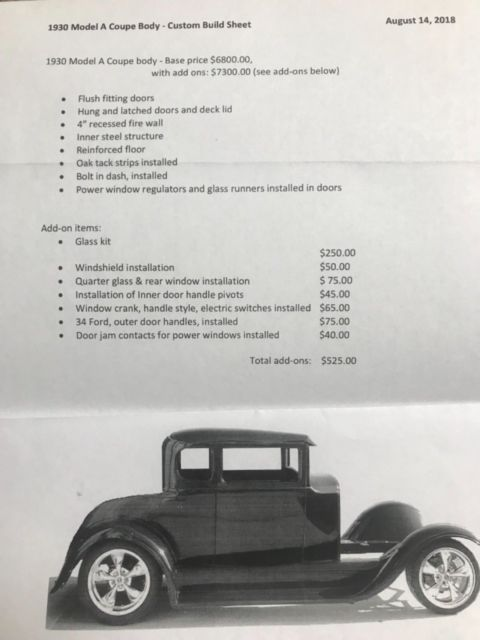 1930 Ford Model A - Fiberglass Street Rod Coupe Body - Classic 1930