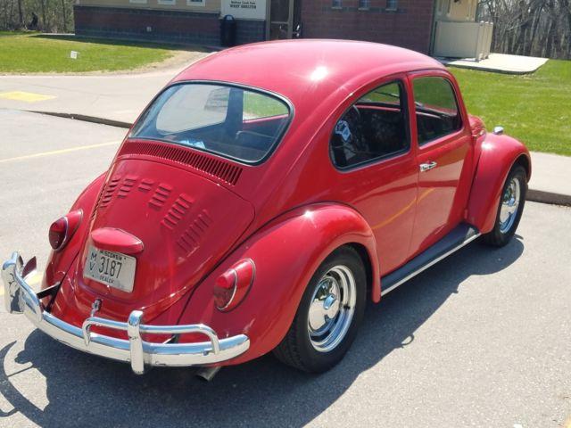 1967 vw beetle bug red Porsch wheels - Classic 1967